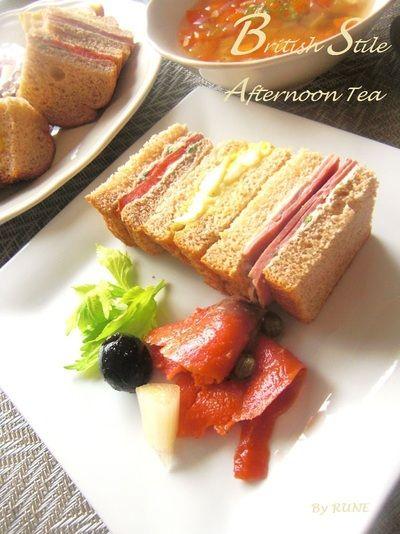 野菜スープとイギリス風サンドイッチ☆