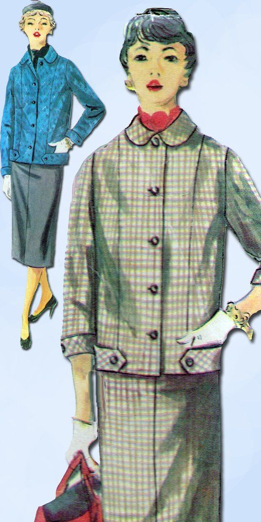 1950s Vintage Simplicity Sewing Pattern 4871 Misses Suit w Boxy Jacket Size 30 B