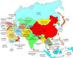 Asia tiene unos 50 paises distintos. En este mapa se ve como se reparten las distintas ciudades y su tasa de población.