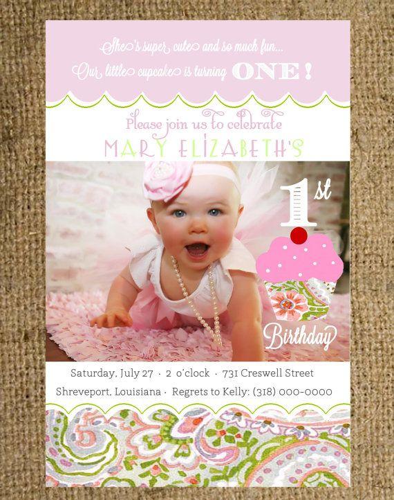 Baby Girl First Birthday Invitation Pink by MagnoliaDesignStudio