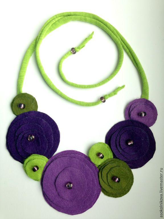 Купить Бусы из фетра. Цветы - фиолетовый, сиреневый, салатовый, зеленый, цветок, фетр, бусы, колье