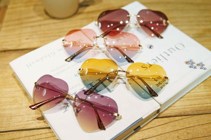 Harajuku icecream rainbow heart sunglasses oculos De sol two-tone gradual change women sun glasses