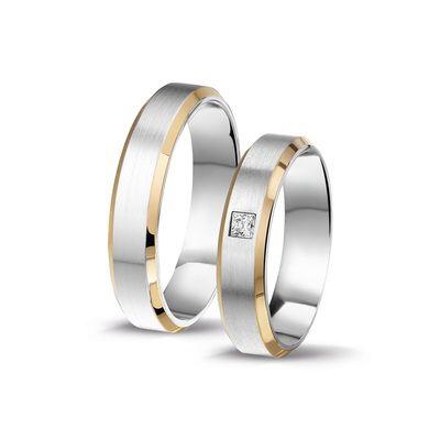 Trouwringen 2856/7 #promises #abrikoos #wit #goud #combinatie #briljant #relatieringen #juwelier #steensma