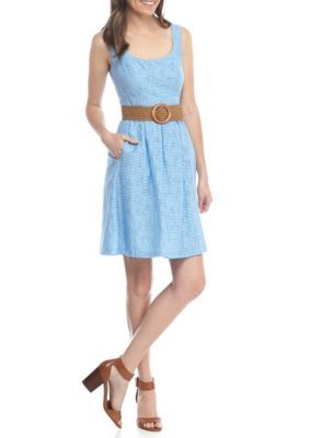 Nine West Women's Fit And Flare Belted Dress - Sky - 16