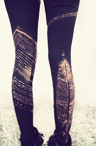 FEATHER TRIBE LEGGINS handpainted by SiamicWear
