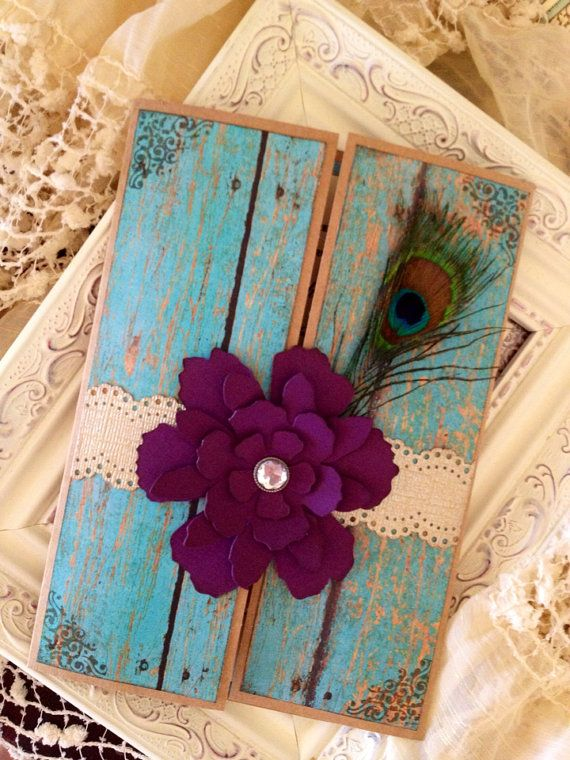 Hey, I found this really awesome Etsy listing at https://www.etsy.com/listing/178839065/shabby-chic-peacock-wedding-invitation