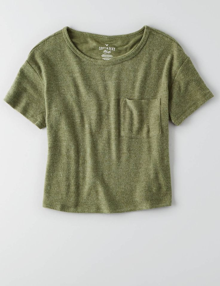 AEO Soft & Sexy Plush Pocket T-Shirt , Olive   American Eagle Outfitters