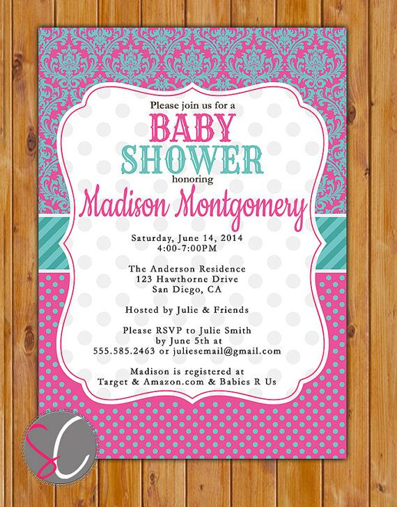 Damask Baby Shower Invitation Pink Teal Tickled Pink by scadesigns