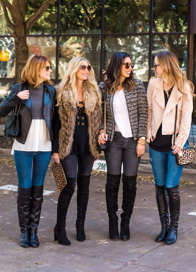 """I LOVED how we all wore skinny jeans, two of us wore high heel suede boots, and the other two wore flat leather boots... always on the same wavelengths! Cathy looked darling in that double """"illusion"""" top and black leather moto jacket. Heather was a snow-bunny queen in that amazing fur vest (seriously obsessed) and lace up sweater. I went basic with a white tee and striped wool blazer. Ashley was uber fresh with a pale pink moto jacket. Both Heather and Ashley were rocking the animal..."""