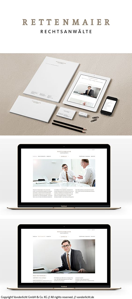 Corporate Design & Webdesign, Rettenmaier Rechtsanwälte, Frankfurt am Main Project by Vanderlicht GmbH & Co. KG (www.vanderlicht.de) #corporateidentity #digitaldesign #logo #print #printdesign #web #webdesign