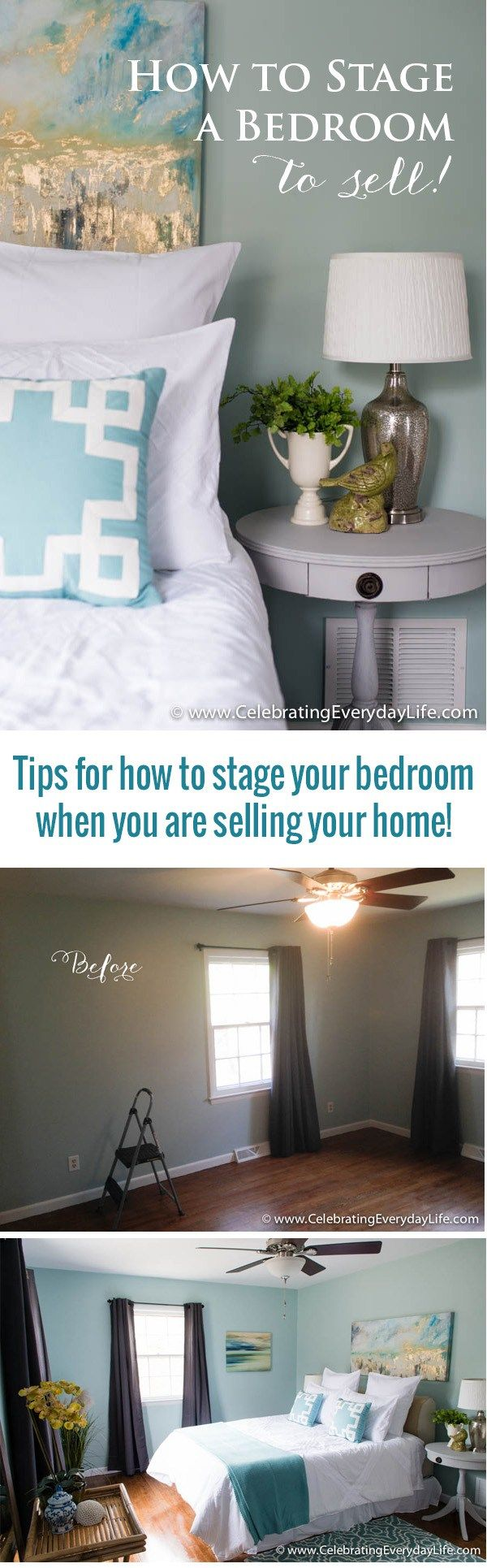 Home Staging Before + After, Home staging ideas, How to stage a bedroom, decorate a bedroom for sale, celebrating everyday life with jennifer carroll