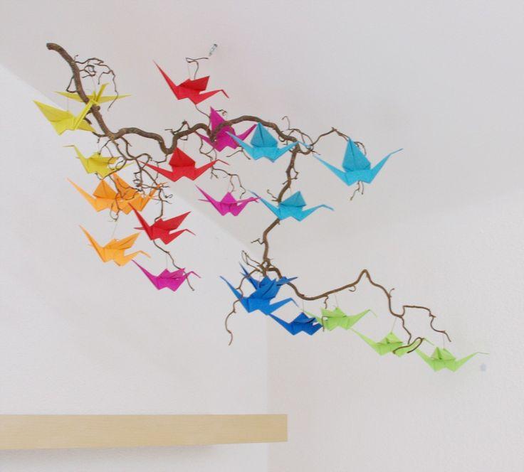 Origami Kranich falten Anleitung Schritt für Schritt DIY fertig 1