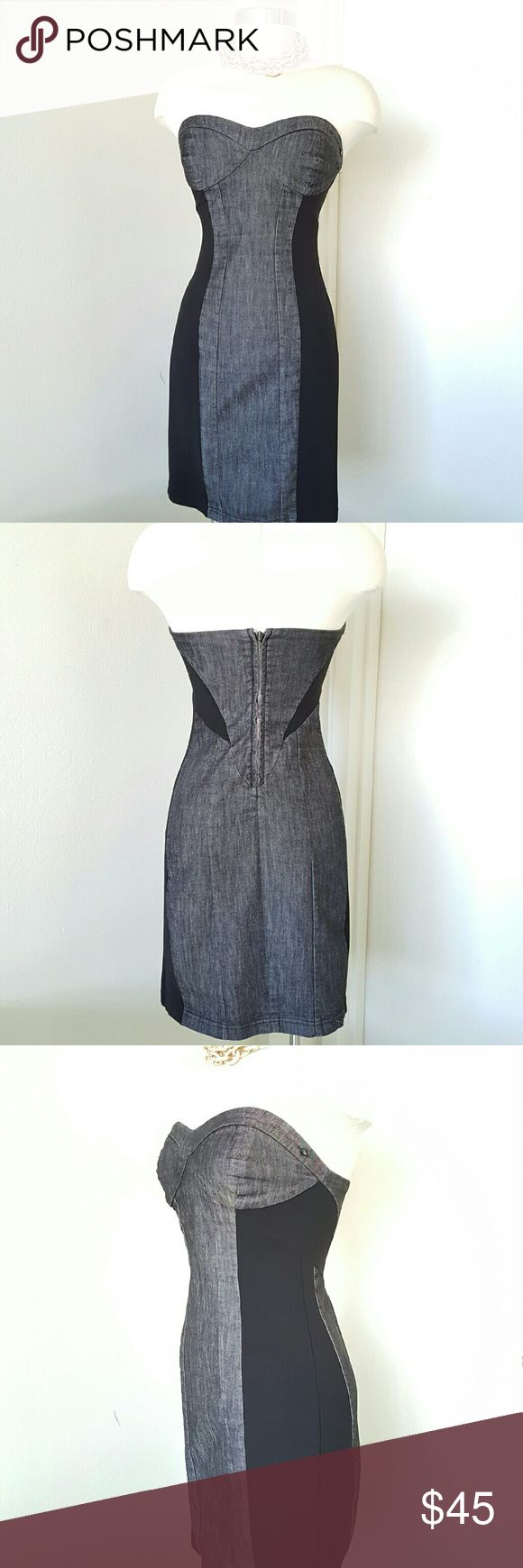"Diesel Denim Strapless Dress Gorgeous and very stylish dress ,combination of denim fabric and black lycra,  unlined, strapless dress with extension on zipper,  stretchy. Perfect for any occasion, going well with jacket or cardigan.  Measurements are length 34"" bust 33"" waist 28"" hip 34""  Shell  72% cotton 26% rayon 2% elastin Diesel Dresses Strapless"