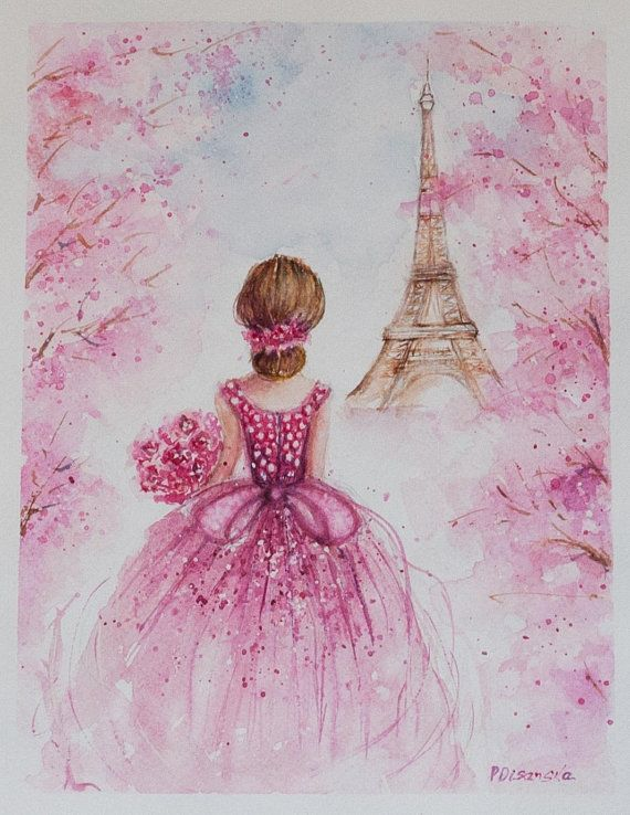 Eiffel Tower Painting Romantic Wall Art Paris Watercolor Fashion