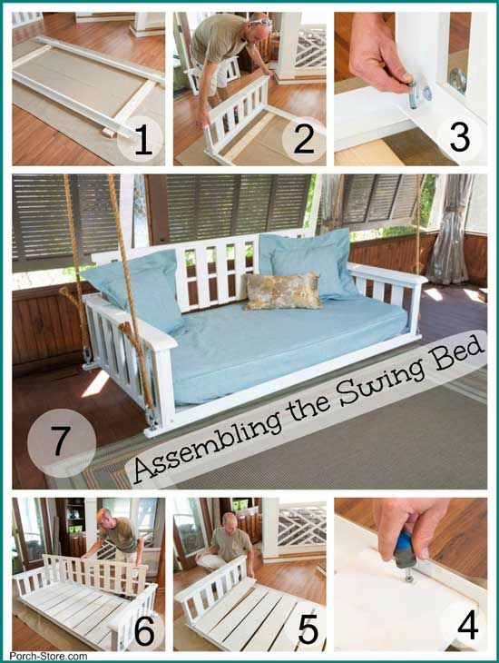 Assembly of a swing bed in several easy steps. From the Porch Store #porchswing