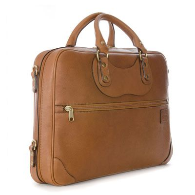 The Courier Ruc Case in tan grain leather.