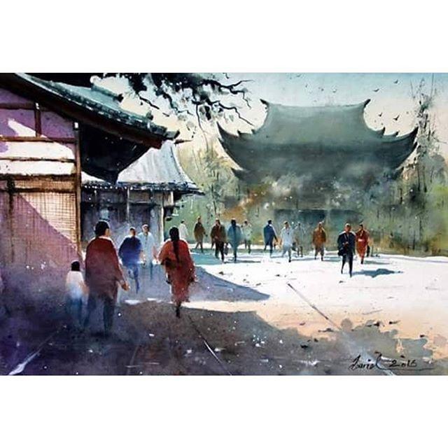 Japan Watercolorpainting Watercoloriranian Aquarelle Japan