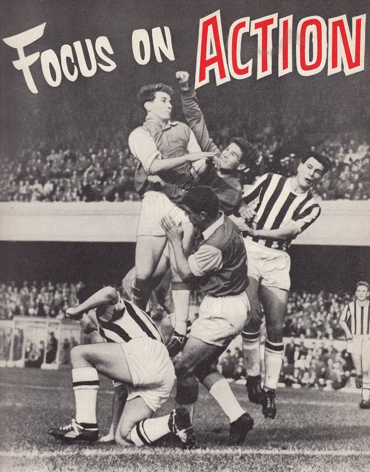 1st October 1960. Arsenal strike duo Geoff Strong and David Herd causing mayhem in the West Bromwich Albion defence as goalkeeper Ray Potter attempts to punch clears aided by Graham Williams and Bobby Robson, at Highbury.