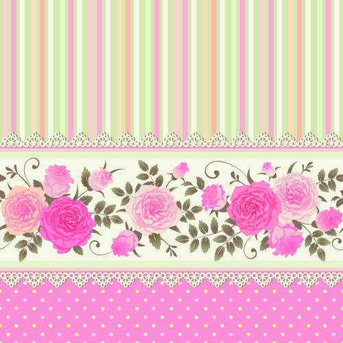 Pink rose pattern background vector 05 free