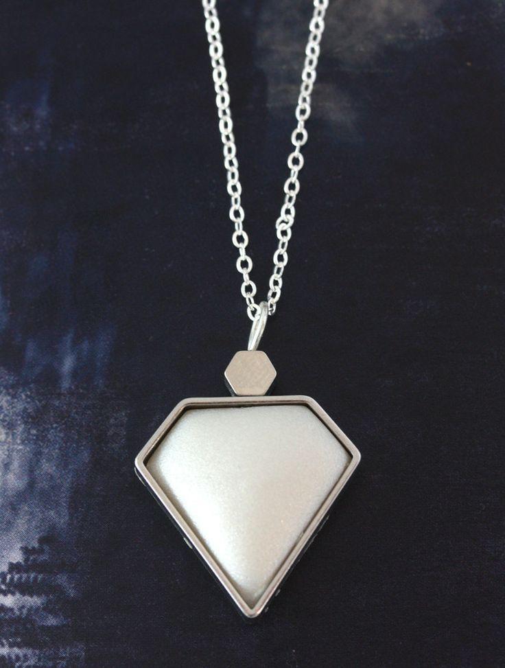 Silver Diamond Pendant  www.cloudninecreative.co.nz