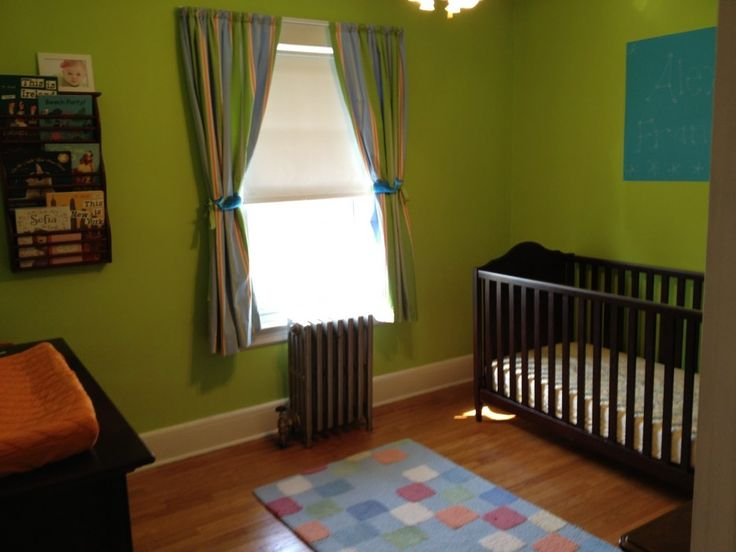 Green Color Idea Applied In Nursery Room With Wooden Flooring With Colorful Curtain From Virtual Room Painted