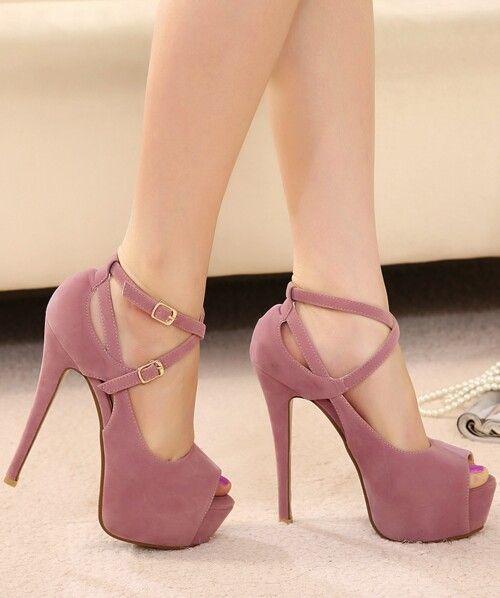 Soluk pembe bileklik topuklu ayakkabı