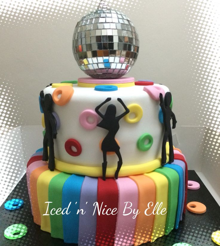 Disco themed birthday cake More