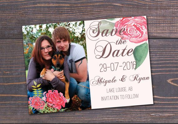 Watercolour roses save the date card.