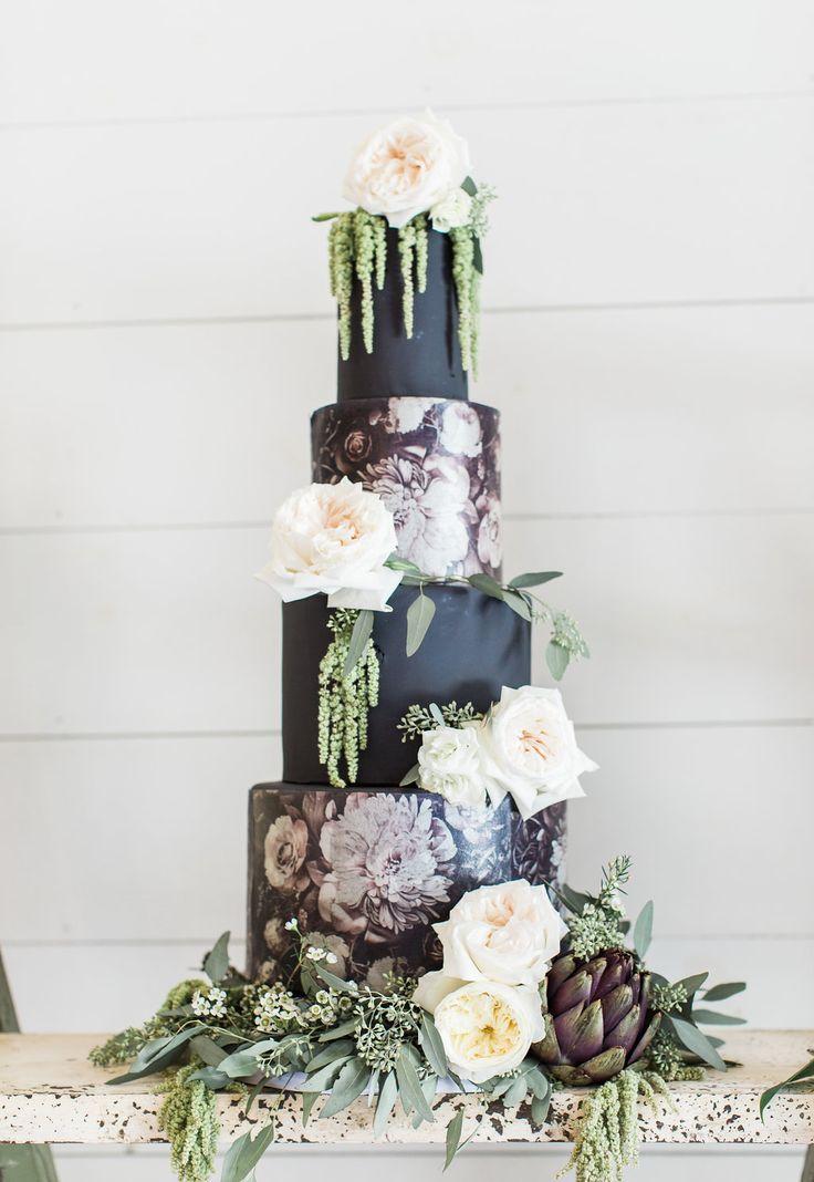 painted wedding cake with amaranthus - photo by Olivia Morgan Photography http://ruffledblog.com/crisp-southern-elegance-makes-for-perfect-wedding-inspiration