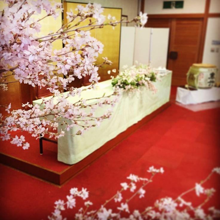 高砂 桜装飾 wedding main table