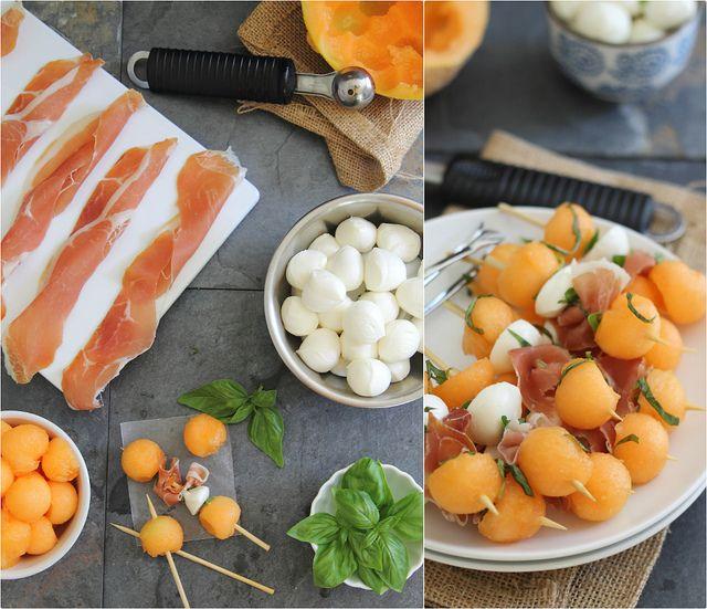 Meloen, prosciutto, mozzarella sticks