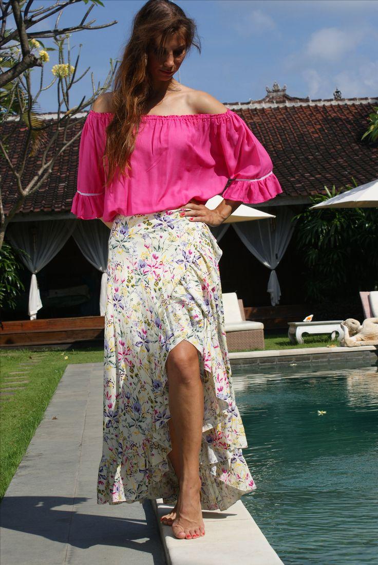 Louise Wrap frill skirt