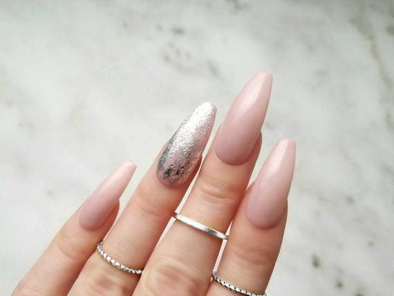 Rose Nude Press-on nails with a Silver foil – Any shape – Reusable manicure – Co…