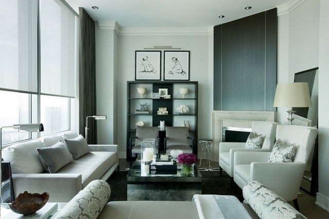Living room sofa table flowers design coverlet lighting large room idea TV modern
