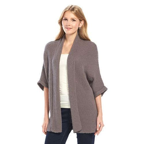 SONOMA life + style Dolman Open Front Cardigan - Women's/Color:Plum Kitten