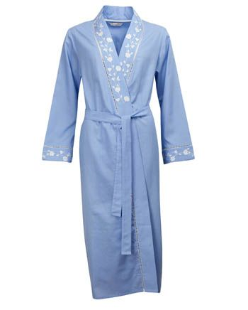Nora-Rose by cyberjammies Chambray Trailing Embroidery Long Sleeve Kimono Wrap