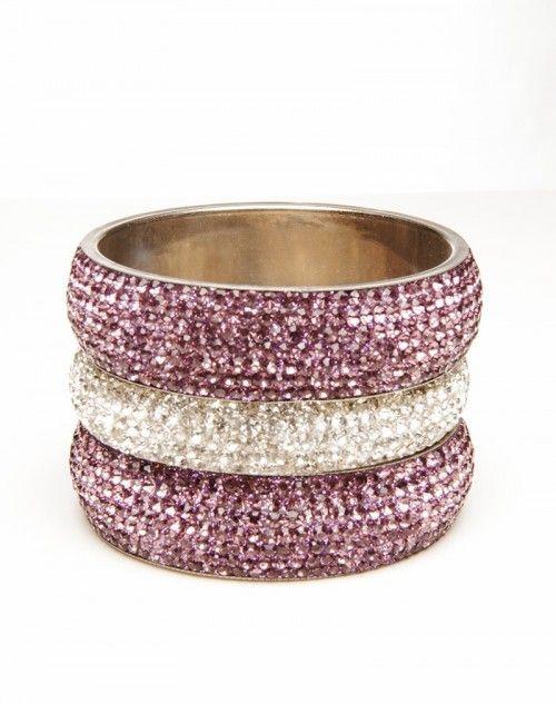 Two wide Light Amethyst Aura bangles with one skinny White Diamond Aura bangle. Accessorize accessorize accessorize! Three pieces. www.hamptonbanglecompany.com #bangle #jewelry #accessory #girl #sexy #fashion #stackable #bracelet  #imaginehappy