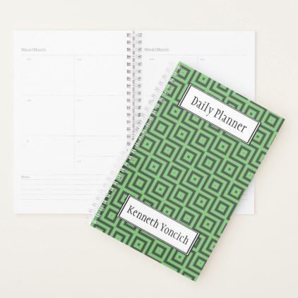#Green & Yellow Checkered Tubes by Kenneth Yoncich Planner - #office #gifts #giftideas #business