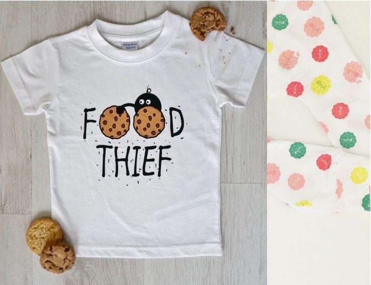 'Food Thief' Tee & Handmade Biscuit Leggings Set (Lemon & Pink)