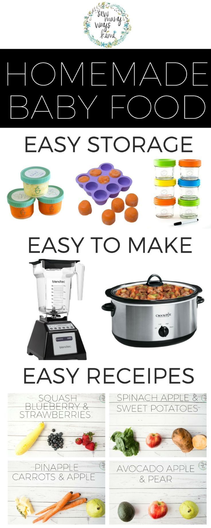 No need to buy a $200 baby food maker! Great for beginners/newbies! Just use your blender and crockpot! Includes super easy and yummy homemade baby food recipes. Store, make and feed. via /sewmanywayskimi/