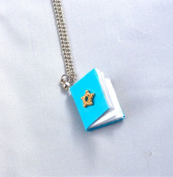 Mini Blue Book Necklace/ Blank Pages/Gold Bead by BeyondtheWire