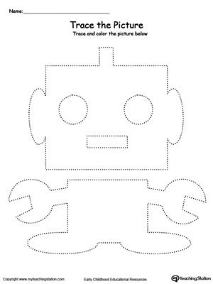 Robot Picture Tracing: Reinforce fine motor skills in your preschool child by tracing lines and coloring the picture.