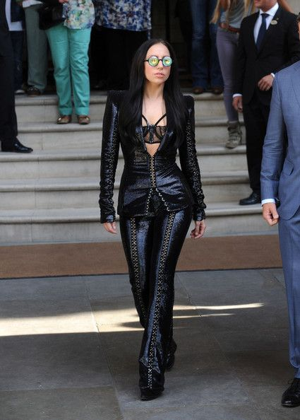 Lady Gaga Pantsuit - Lady Gaga stepped out looking dramatic as ever in a fully-sequined black suit.