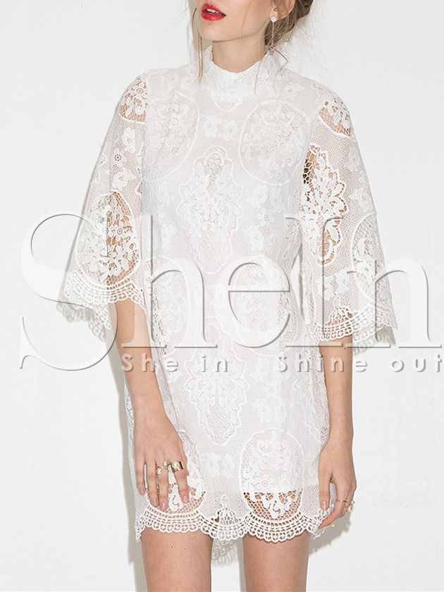 White Half Sleeve Floral Lace Dress -SheIn(Sheinside)
