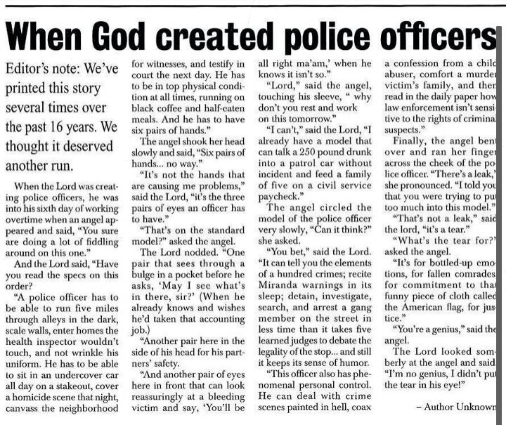 Police Officer Quotes: When God Created Police Officers ♥♡
