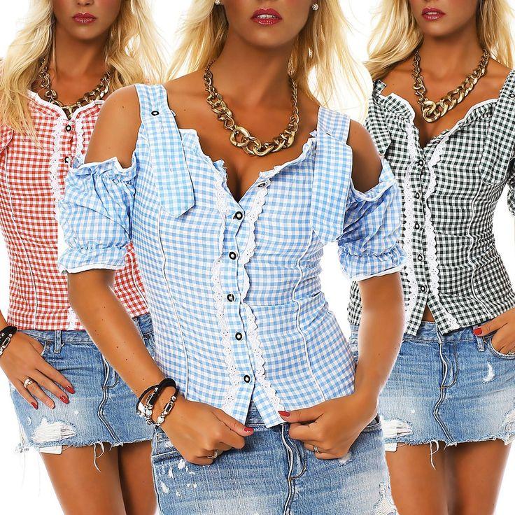 Trachten-Bluse mit Schulter-Cut-Outs - Jetzt reduziert bei Lesara
