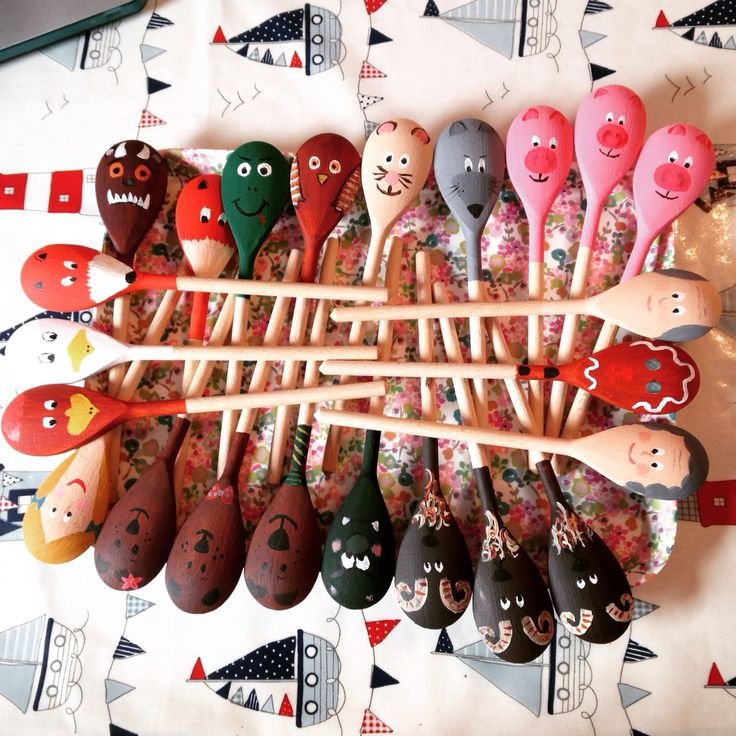 Wooden spoons characters traditional tales gruffalo eyfs reception story puppets