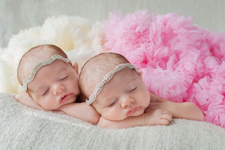 Newborn Photography | Twins | Beautiful newborn baby twin girls in rhinestones & ruffles | Charlyne Lees Photography