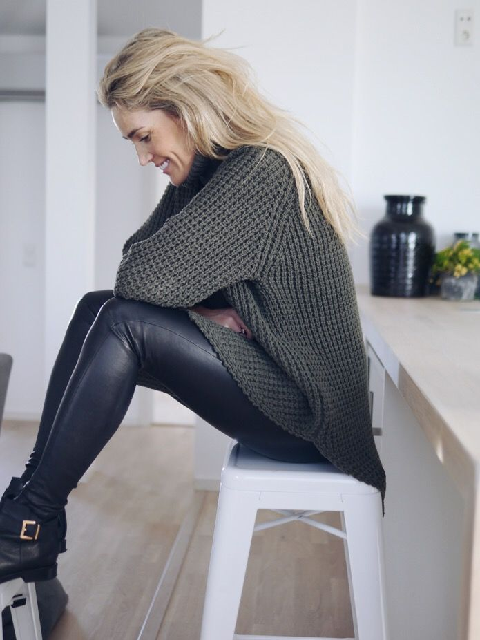 Style...Camilla Pihl // Fall look: maxi sweater, leather pants and ankle boots