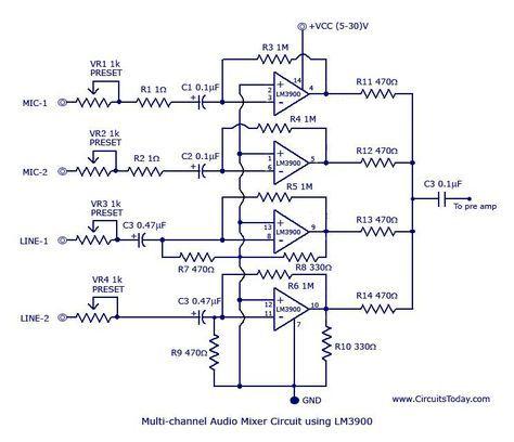 a487315435b5fe5abde7d1f12d1cfb62 multi channel audio mixer circuit circuit pinterest circuit